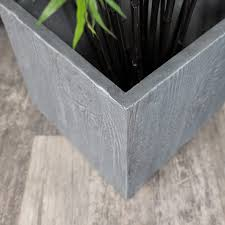 large dark grey square planter