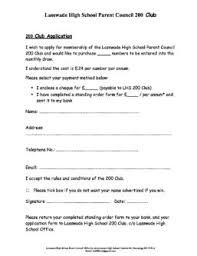 Lasswade High School Parent Council 200 Club Application