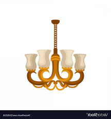 Flat Icon Of Antique Golden Chandelier Vector Soidergi