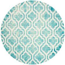 dip dye turquoise ivory 5 ft x 5 ft round area rug