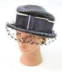 Vtg 50s Retro <b>Black Woven</b> Shiny Straw Bow Veil Derby Pillbox <b>Hat</b> ...