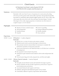 Resume Examples For Culinary Jobs Oneswordnet