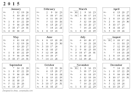 Calendar Template Printable 2015 Printable 2015 Calendar Print Yearly Calendar 2015 Zromtk Download
