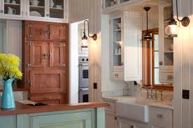 white country cottage kitchen. Example Of A Mid-sized Coastal Galley Enclosed Kitchen Design In Other With Glass- White Country Cottage