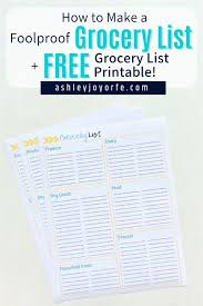 How To Make A Grocery List Make A Foolproof Grocery List Free Grocery List Printable