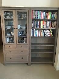 ikea hemnes glass door cabinet with 3 drawers grey brown solid wood
