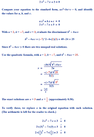 find the roots of the quadratic equations given in q 1 above by applying the quadratic formula i 2x2 7x 3 0