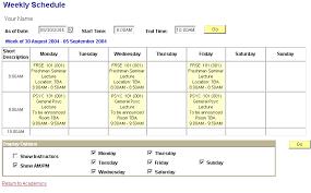 My Weekly Schedule Academics View My Weekly Schedule