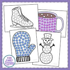 Use one of the christmas bingo pages to cut every square out separately. Winter Bingo Dauber Coloring Pages Free Printable