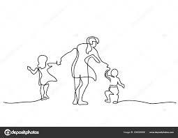 Disegni Con Bambini Che Camminano Concetto Di Famiglia Madre
