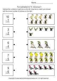 Fun Subtraction up to 10 - Brain Teaser Worksheets For Kindergarten