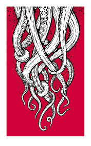 Small Picture Tentacles Screenprinted Art Print my Octopus drawing would