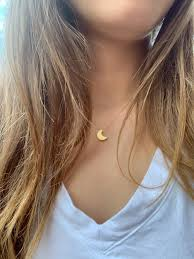 dainty moon necklace simple moon