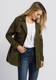 las hooded trench coat olive hi res