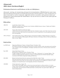 Resume Dance Resume Samples