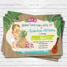 Hawaiian Pool Party Invitations Hawaiian Luau Boy 1st First Birthday Invitation Vintage Baby Summer
