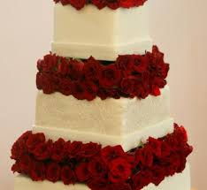 Red Rose 3 Tier Wedding Cake