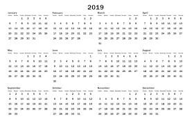 Calendar Year 2019 Printable 2019 Calendar Year At A Glance Printable Task Management Template