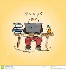 Illustration D Un Tudiant Dans Un Bureau Au Travail Main Dessin