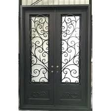 china luxury iron double entrance door beautiful with fly screen and dual pane glass sliding pet dual pane glass