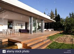 Steps to patio terrace of L House, Israel, Middle East