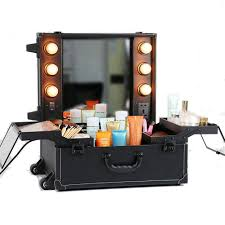 wheeled makeup case with 6 bulbs lights cosmetic train case beauty travel box black amazon co uk luge