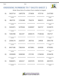 Ordering Large Numbers 5th Grade