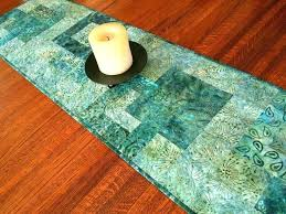 batik tablecloth teal table runners runner quilted in aqua blue dining decor coffee modern nz t