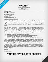 Truck Driving Resume Cover Letter And Driver Example Famous Gallery