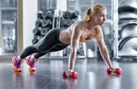 Image result for woman Side to Side Push-Up with dumbbells