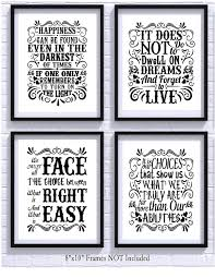 Harry Potter Quotes And Sayings Art Prints Set Of Four Photos 8x10 Unframed Great Unique Inspirational Harry Potter Gift