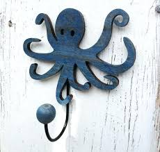 nautical wall hooks custom made wooden octopus wall hook nautical wall decoration ocean themed decoration nautical