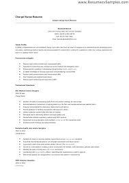Charge Nurse Resume Charge Nurse Resume Sample Resumes For Nurses