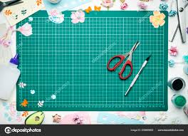 Paper Flower Cutting Tools Cutting Mat Surrounded Paper Flowers Paper Tools Scrapbooking