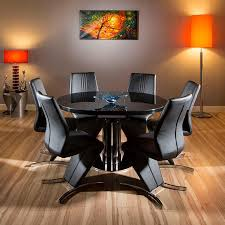 quatropi black glass gloss dining set round oval table gloss black background
