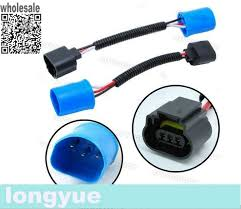 longyue 2pcs 9007 hb5 to h13 headlight pigtail connector wire ford wiring harness connector type at Ford Wiring Harness Connectors