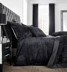 catherine lansfield luxury crushed velvet duvet quilt cover bedding range black