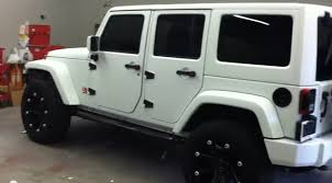 white customized jeep wranglers. side angle photo matte white customized jeep wrangler unlimited wranglers l