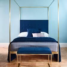 Blue Headboard Design Ideas Gold Frame Canopy Bed With Blue Headboard King Blue