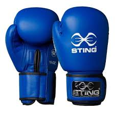 sting competition leather boxing gloves aiba approved blue