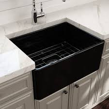 bocchi farmhouse a front fireclay 24 inch black kitchen sink