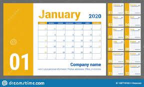 Planner 2020 Template 2020 Calendar English Calender Yellow Color Vector