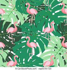 Flamingo Pattern Awesome Cute Retro Seamless Flamingo Pattern Background Vector Illustration