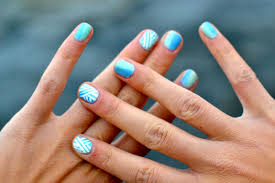blue and silver nail designs for prom