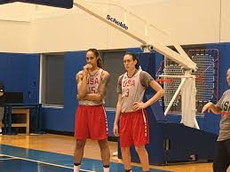 olympics photo essay from usa basketball practice breanna stewart and brittney griner watch on the baseline as team usa runs through offensive sets
