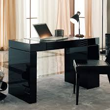 design office desk home. Furniture, Luxury Sweet Black Modern Computer Desk Combined With Silver Laptop And Arch Table Design Office Home N