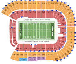Gopher Hockey Seating Chart Tcf Bank Stadium Seating Chart Minneapolis