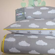 pure cotton cot bed duvet cover set ed sheet grey stars and clouds with yellow piping nursery