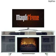 white a center electric fireplace wall mantel tv stand w realistic fireplace insert