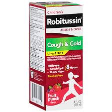 Childrens Robitussin Cough Long Acting 4 Fl Oz Fruit Punch Flavor 8 Hour Cough Suppressant